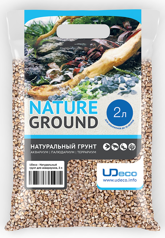 Грунт для аквариума UDeco Бежевый гравий, натуральный, 4-6 мм, 2 л грунт для аквариума udeco темный гравий натуральный 6 9 мм 6 л