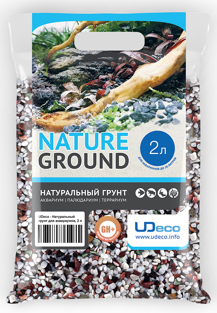 Грунт для аквариума UDeco Разноцветный гравий, натуральный, 4-6 мм, 2 л грунт для аквариума udeco темный гравий натуральный 6 9 мм 6 л