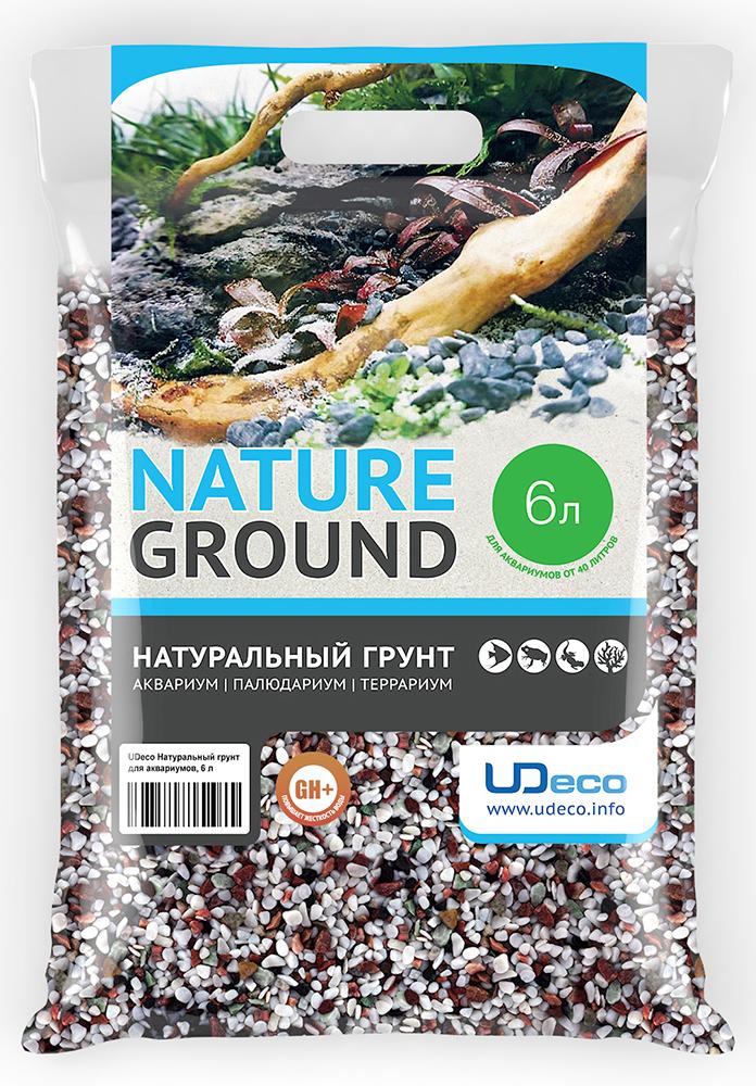 Грунт для аквариума UDeco Разноцветный гравий, натуральный, 4-6 мм, 6 л