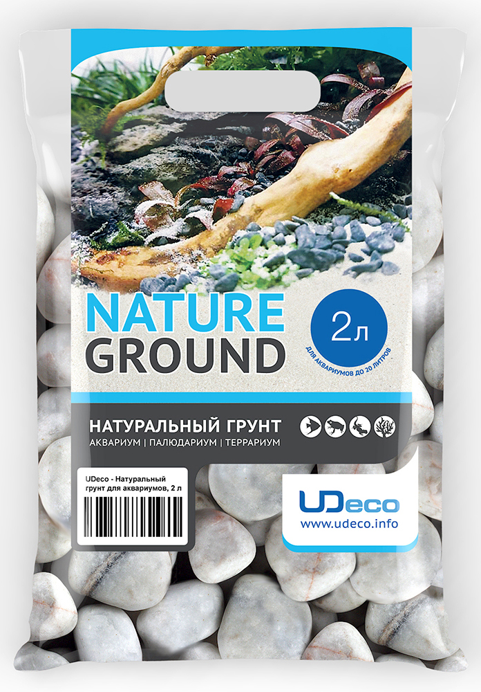 Грунт для аквариума UDeco Белая галька, натуральный, 30-50 мм, 2 л галька морская для аквариума prime 2 7 кг