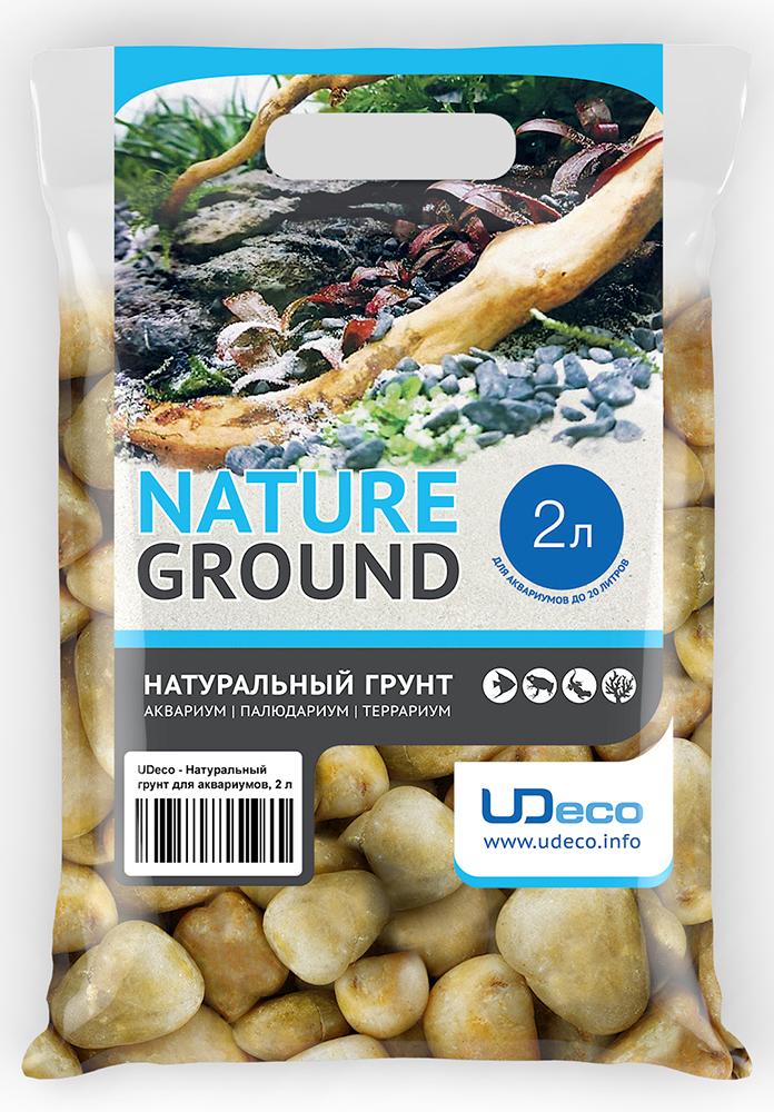Грунт для аквариума UDeco Желтая галька, натуральный, 30-50 мм, 2 л галька морская для аквариума prime 2 7 кг