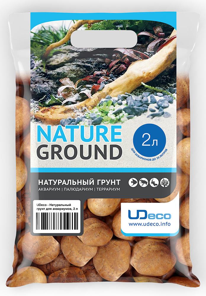 Грунт для аквариума UDeco Оранжевая галька, натуральный, 30-50 мм, 2 л грунт для аквариума udeco коралловая крошка натуральный 11 30 мм 2 л