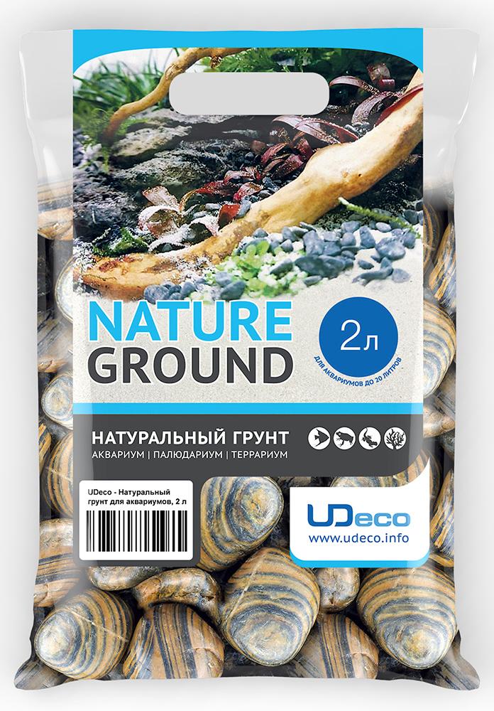 Грунт для аквариума UDeco Полосатая галька, натуральный, 30-50 мм, 2 л галька морская для аквариума prime 2 7 кг