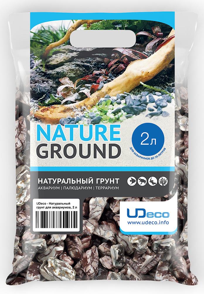 Грунт для аквариума UDeco Волнистая галька, натуральная, 30-50 мм, 2 л грунт для аквариума udeco коралловая крошка натуральный 11 30 мм 2 л