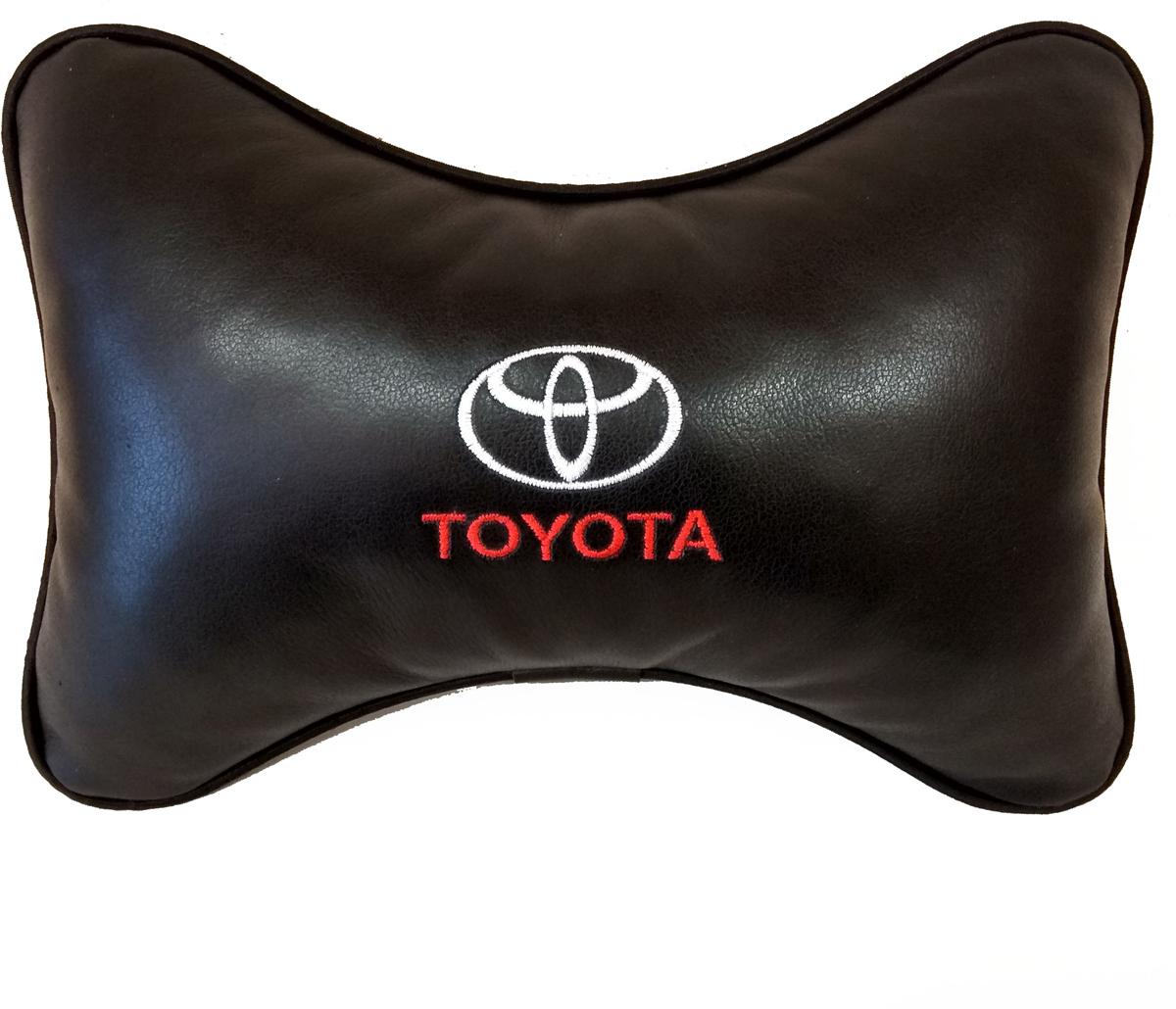"""Подушка на подголовник Auto Premium """"Toyota"""", цвет: черный, 37802"""