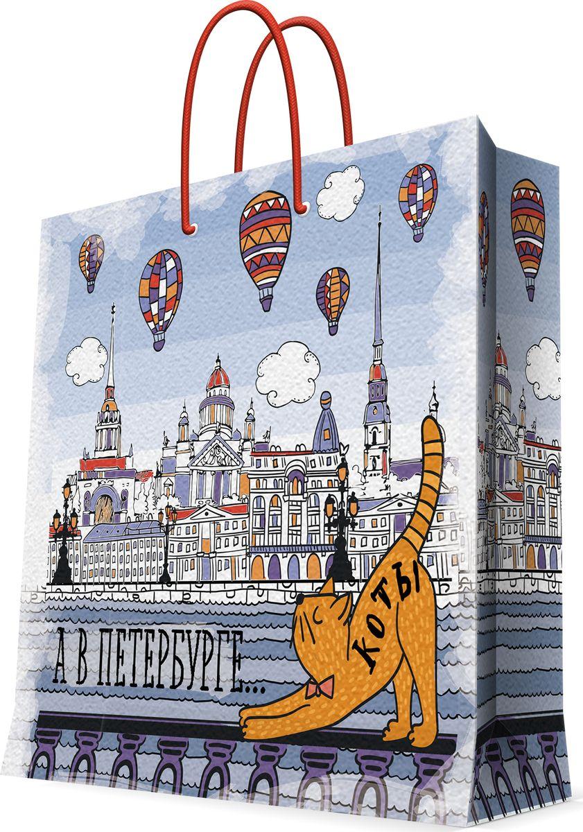 """Бумажный пакет для сувенирной продукции """"Питерский кот""""- это стильный и практичный вариант упаковки подарка. Авторский дизайн, красочное изображение, тематический рисунок - все слагаемые оригинального оформления подарка. Окружите близких людей вниманием и заботой, вручив презент в нарядном, праздничном оформлении. Пакет с ламинацией изготовлен из плотной бумаги. Для удобства переноски имеются две веревочные ручки. Дно и верхний край укреплены картоном. Красивый подарочный пакет придаст дополнительный запоминающийся эффект от подарка или покупки."""