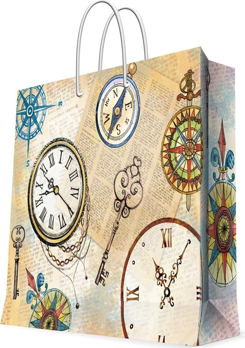 Пакет бумажный Magic Home Часы, 41 х 49 см77282Бумажный пакет для сувенирной продукции - это стильный и практичный вариант упаковки подарка. Авторский дизайн, красочное изображение, тематический рисунок - все слагаемые оригинального оформления подарка. Окружите близких людей вниманием и заботой, вручив презент в нарядном, праздничном оформлении. Пакет с ламинацией изготовлен из плотной бумаги. Для удобства переноски имеются две веревочные ручки. Дно и верхний край укреплены картоном. Красивый подарочный пакет придаст дополнительный запоминающийся эффект от подарка или покупки.