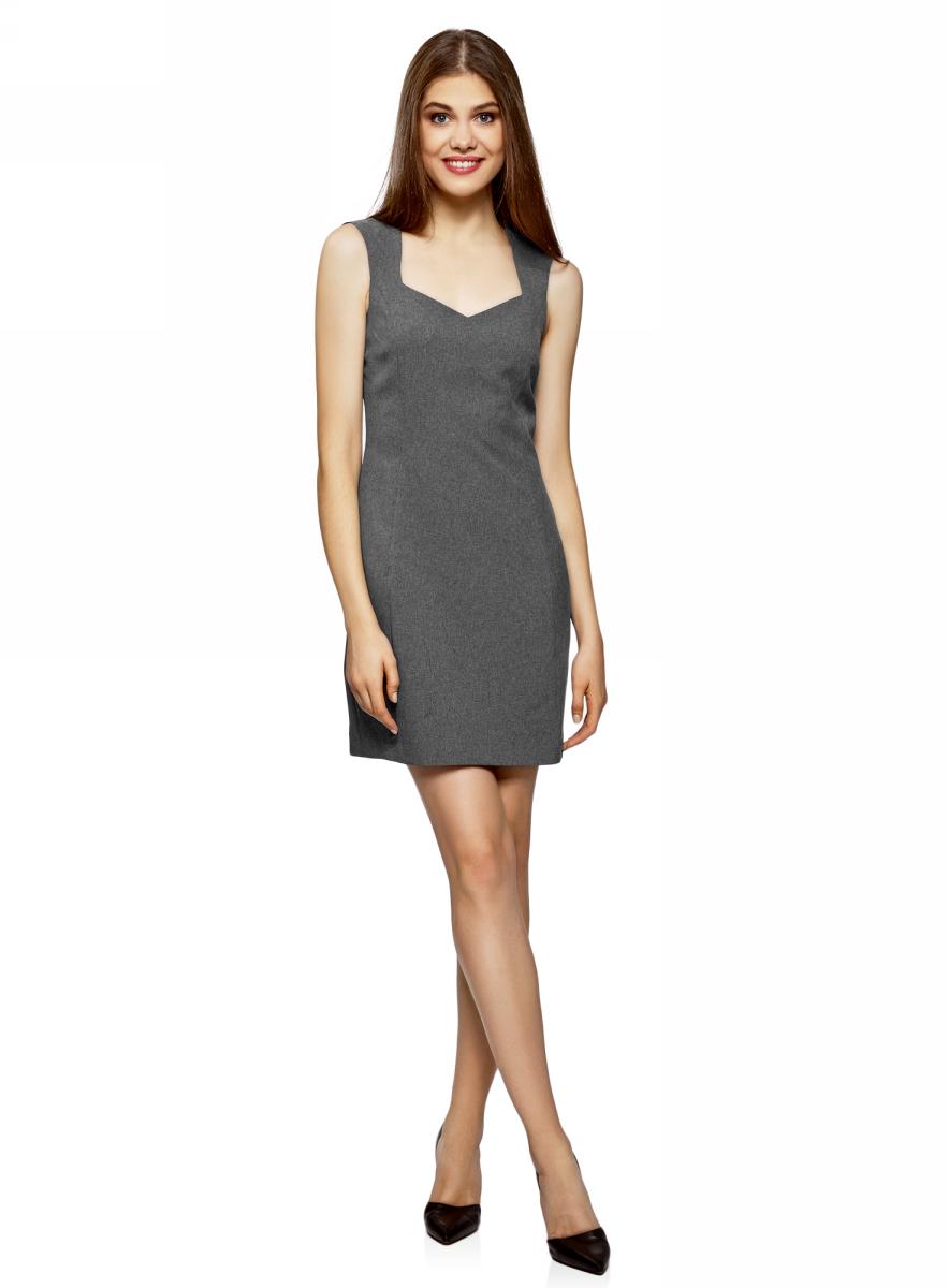 Купить Сарафан oodji Ultra, цвет: темно-серый меланж. 11902160/14917/2500M. Размер 36-170 (42-170)