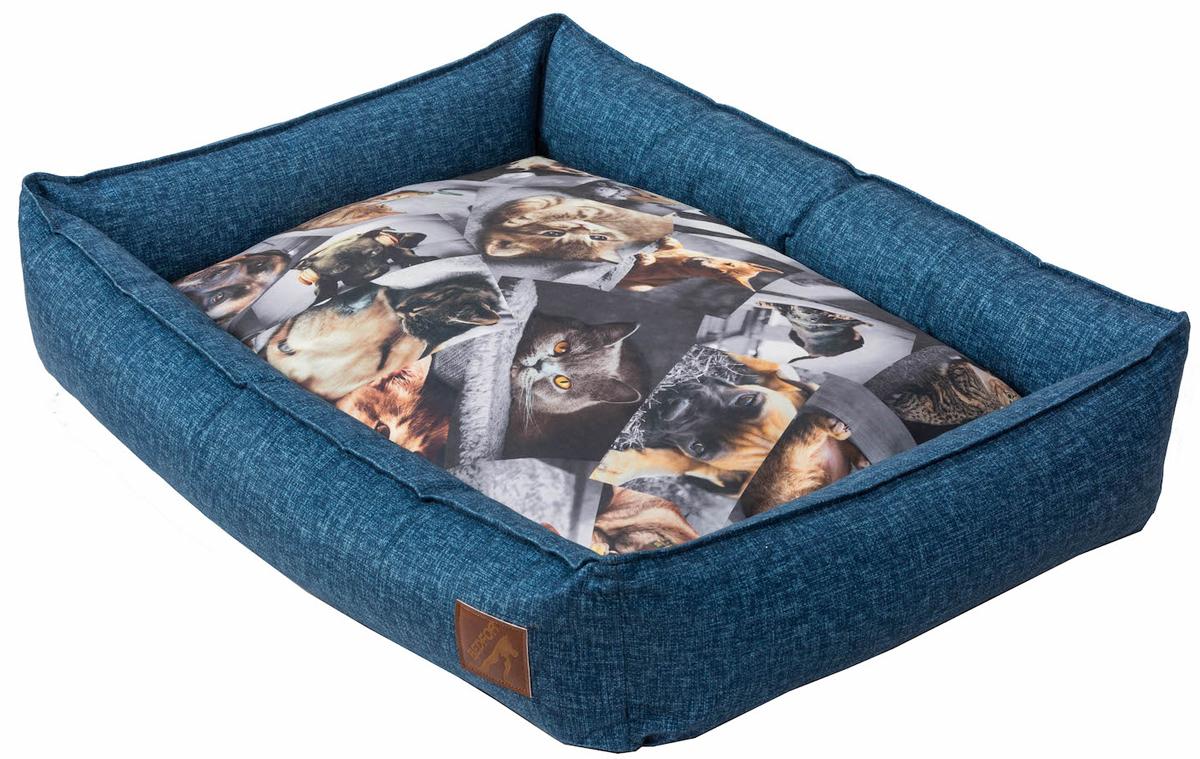 Лежанка для животных Bedfor, со съемными чехлами, цвет: синий, 90 x 60 x 18 см