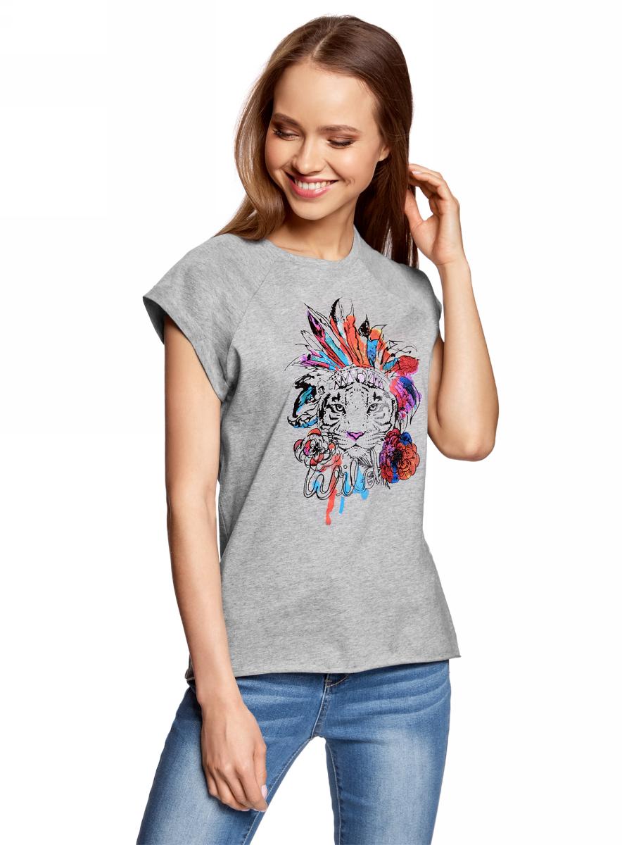 Футболка женская oodji, цвет: светло-серый. 14707001-29/46154/2019Z. Размер L (48)14707001-29/46154/2019ZЖенская футболка от oodji выполнена из натурального хлопка. Модель с короткими рукавами спереди оформлена принтом.