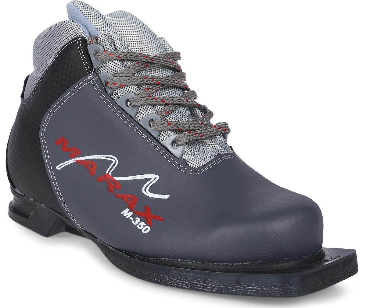 Ботинки лыжные Marax, цвет: серый, черный. М350. Размер 35М350Лыжные ботинки Marax предназначены для активного отдыха. Модельизготовлена из морозостойкой искусственной кожи и текстиля. Подкладка выполнена из искусственного меха и флиса, благодаря чему ваши ноги всегда будут в тепле. Шерстяная стелька комфортна при беге. Вставка на заднике обеспечивает дополнительную жесткость, позволяя дольше сохранять первоначальную форму ботинка и предотвращать натирание стопы. Ботинки снабжены шнуровкой с пластиковыми петлями и язычком-клапаном, который защищает от попадания снега и влаги. Подошва системы 75 мм из двухкомпонентной резины является надежной и весьма простой системой крепежа и позволяет безбоязненно использовать ботинокдо -25°С. В таких лыжных ботинках вам будет комфортно и уютно.Как выбрать лыжи ребёнку. Статья OZON Гид