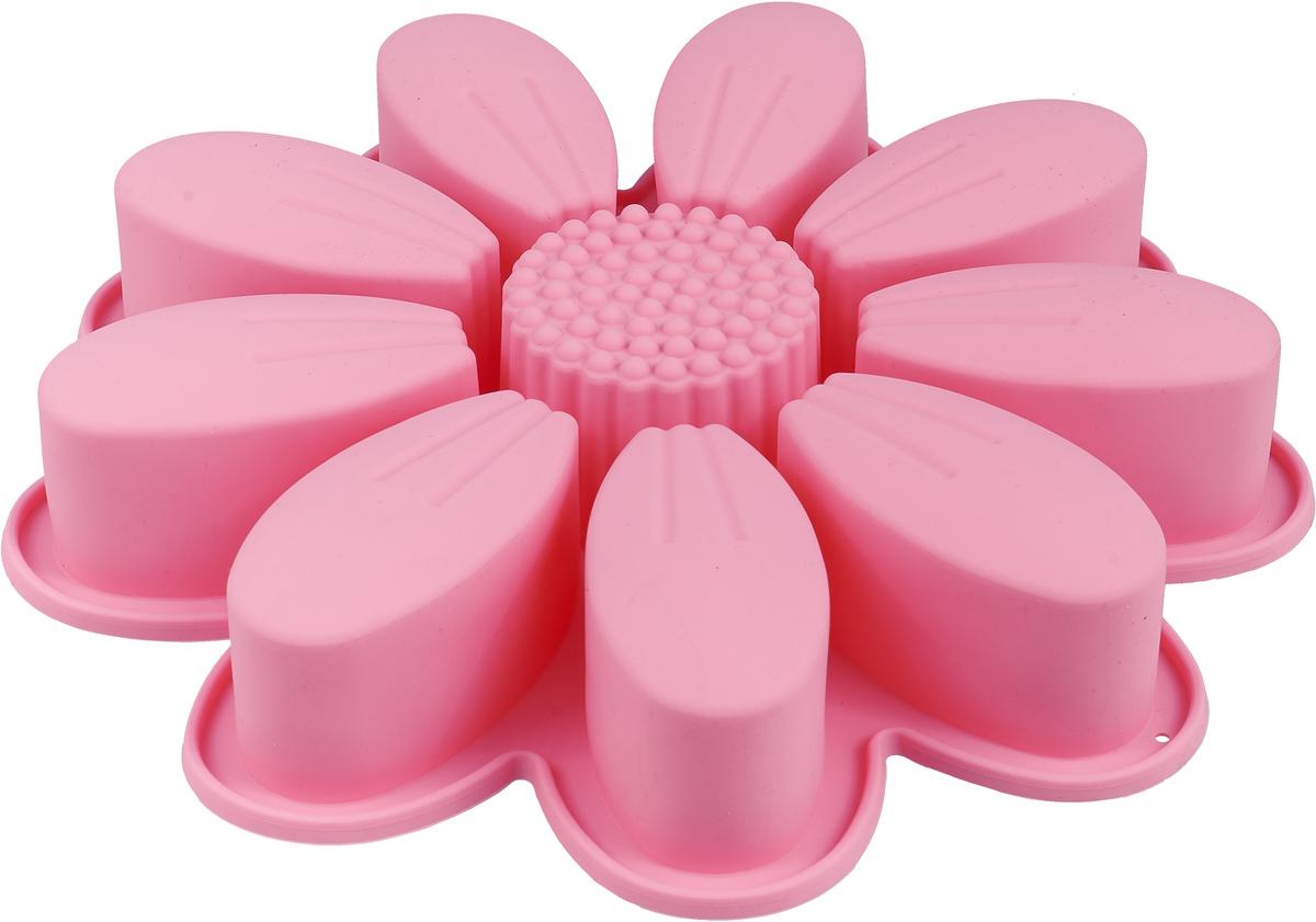 Форма для выпечки Доляна Семицветик, цвет: светло-розовый, 27 х 5 см, 10 ячеек