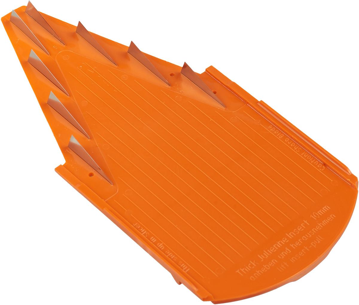 Дополнительная вставка для овощерезки выполнена в виде V-образной рамы с ножами 10 мм из пластика и металла. Вставка подходит для нарезки любых овощей и фруктов на длинные или короткие брусочки, крупные кубики. Характеристики: Материал: пластик, металл. Цвет: оранжевый. Размер: 21 см х 9,7 см. Длина ножей: 3 см. Высота ножей: 10 мм. Размер упаковки: 26 см х 10 см х 2 см. Производитель: Германия. Артикул: 119/3.