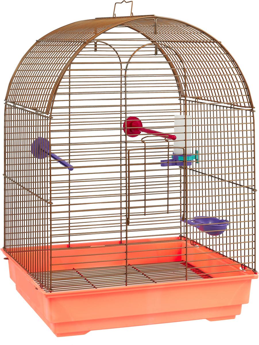 Клетка для птиц Велес Lusy Gold, разборная, цвет: оранжевый, 30 х 42 х 65 см