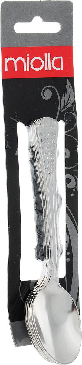 Набор чайных ложек Miolla состоит из 6-ти столовых ложек, выполненных из высококачественной нержавеющей стали.  При взаимодействии с пищевыми продуктами нержавеющая сталь не образует соединений, вредных для организма человека. Посуда из нержавеющей стали наиболее востребована, так как помимо высоких эксплуатационных характеристик отличается привлекательным дизайном.   Набор столовых ложек займет достойное место среди аксессуаров на вашей кухне.