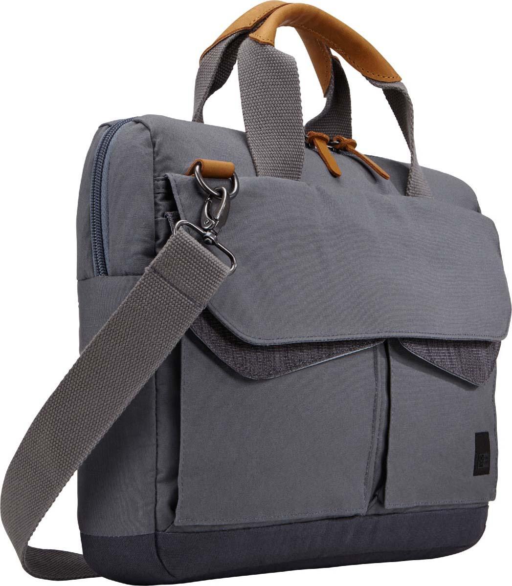 Case Logic LoDo Attache Graphite, сумка для ноутбука 14LODA-114 GRAPHITEУдобный, современный деловой портфель оптимально подойдет для поездок на работу или учебу. Хорошая функциональность и универсальная расцветка обеспечат удобство каждодневного использования.Специальная мягкая вставка обеспечивает безопасность отделения для ноутбука 14,1; Ручки сумки и язычки на молниях обтянуты кожей, обеспечивая высокую износостойкость; Наружный материал сумки из высококачественного хлопкового холста; Удобно открывающиеся внешние карманы для аксессуаров на магнитных застежках; Внешние карманы на молнии специально предназначены для удобного распределения аксессуаров и личных вещей; Регулируемый по длине съемный ремень на плечо; Ремень для ручной клади надежно крепит тонкий чехол к большинству сумок на колесах; Специальный карман для документов обеспечит сохранность папок, журналов и бумаг.