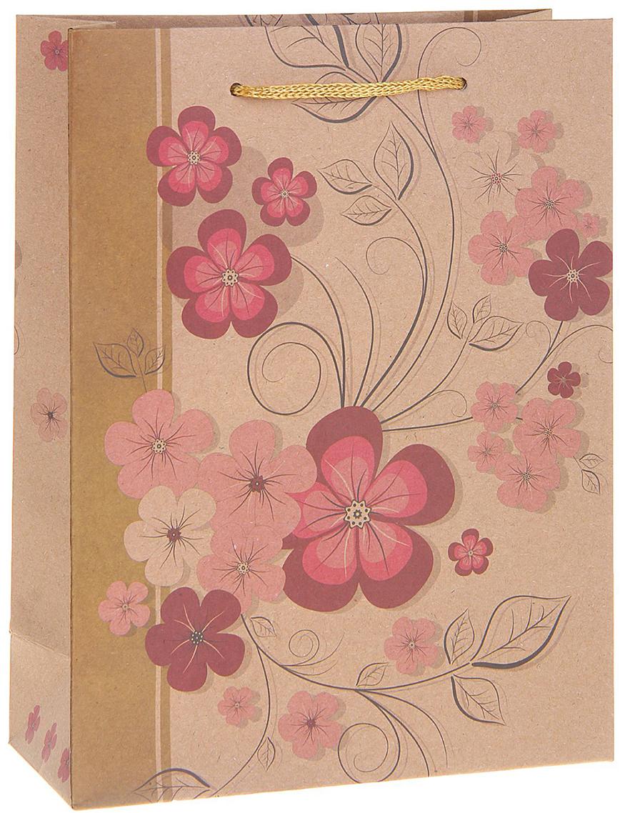 Пакет подарочный Весенние цветы, цвет: мультиколор, 12 х 5 х 15,5 см. 12130411213041Любой подарок начинается с упаковки. Что может быть трогательнее и волшебнее, чем ритуал разворачивания полученного презента. И именно оригинальная, со вкусом выбранная упаковка выделит ваш подарок из массы других. Она продемонстрирует самые теплые чувства к виновнику торжества и создаст сказочную атмосферу праздника. Пакет-крафт Весенние цветы - это то, что вы искали.
