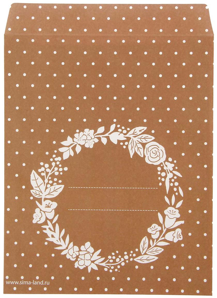 Конверт подарочный Дарите Счастье Цветочный, цвет: коричневый, 13 х 16 см. 14082111408211Аккуратный и стильный пакетик подойдет для печенья или макарун, это отличный способ оформления для небольшого количества вкусностей. Подпишите само изделие или наклейте на него специальный стикер и сделайте знак внимания еще более личным. Приготовьте приятный сюрприз и подарите немного радости родным или друзьям.