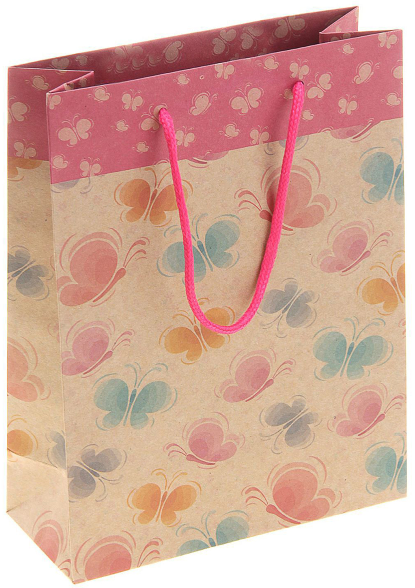 Пакет подарочный Бабочки разноцветные, цвет: мультиколор, 24 х 8 х 33 см. 141055