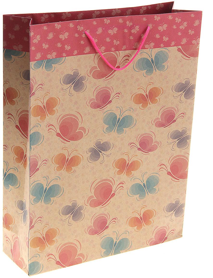 Пакет подарочный Бабочки разноцветные, цвет: мультиколор, 31 х 10 х 42 см. 141068