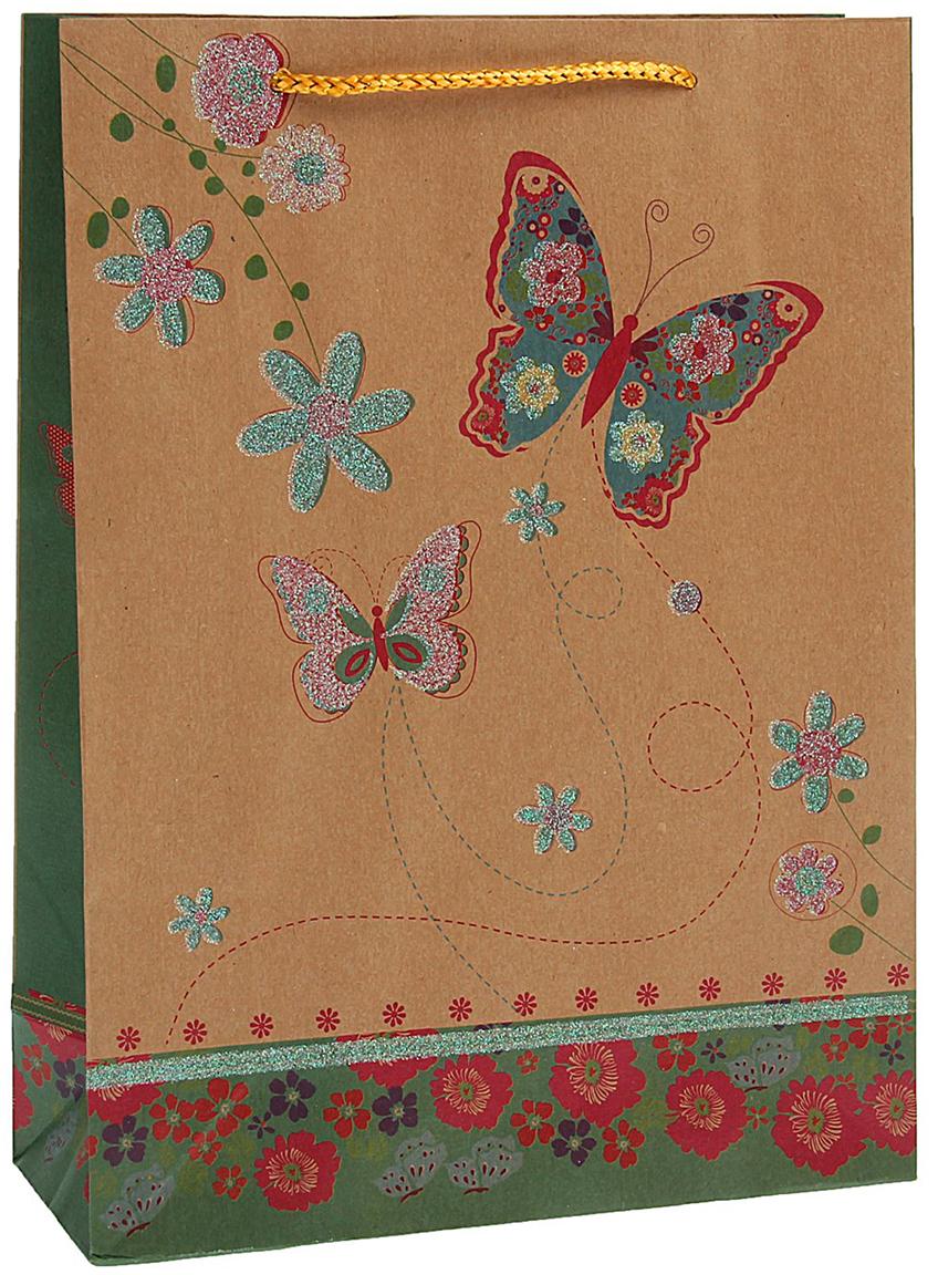 Пакет подарочный Бабочки, цвет: мультиколор, 24,5 х 19 х 8 см. 15372751537275Любой подарок начинается с упаковки. Что может быть трогательнее и волшебнее, чем ритуал разворачивания полученного презента. И именно оригинальная, со вкусом выбранная упаковка выделит ваш подарок из массы других. Она продемонстрирует самые теплые чувства к виновнику торжества и создаст сказочную атмосферу праздника - это то, что вы искали.