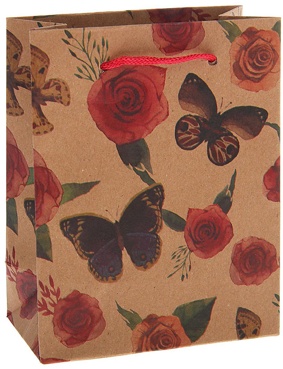 Пакет подарочный Бабочки на розах, цвет: мультиколор, 11 х 14 х 6 см. 15377131537713Любой подарок начинается с упаковки. Что может быть трогательнее и волшебнее, чем ритуал разворачивания полученного презента. И именно оригинальная, со вкусом выбранная упаковка выделит ваш подарок из массы других. Она продемонстрирует самые теплые чувства к виновнику торжества и создаст сказочную атмосферу праздника. Пакет-крафт Бабочки на розах - это то, что вы искали.