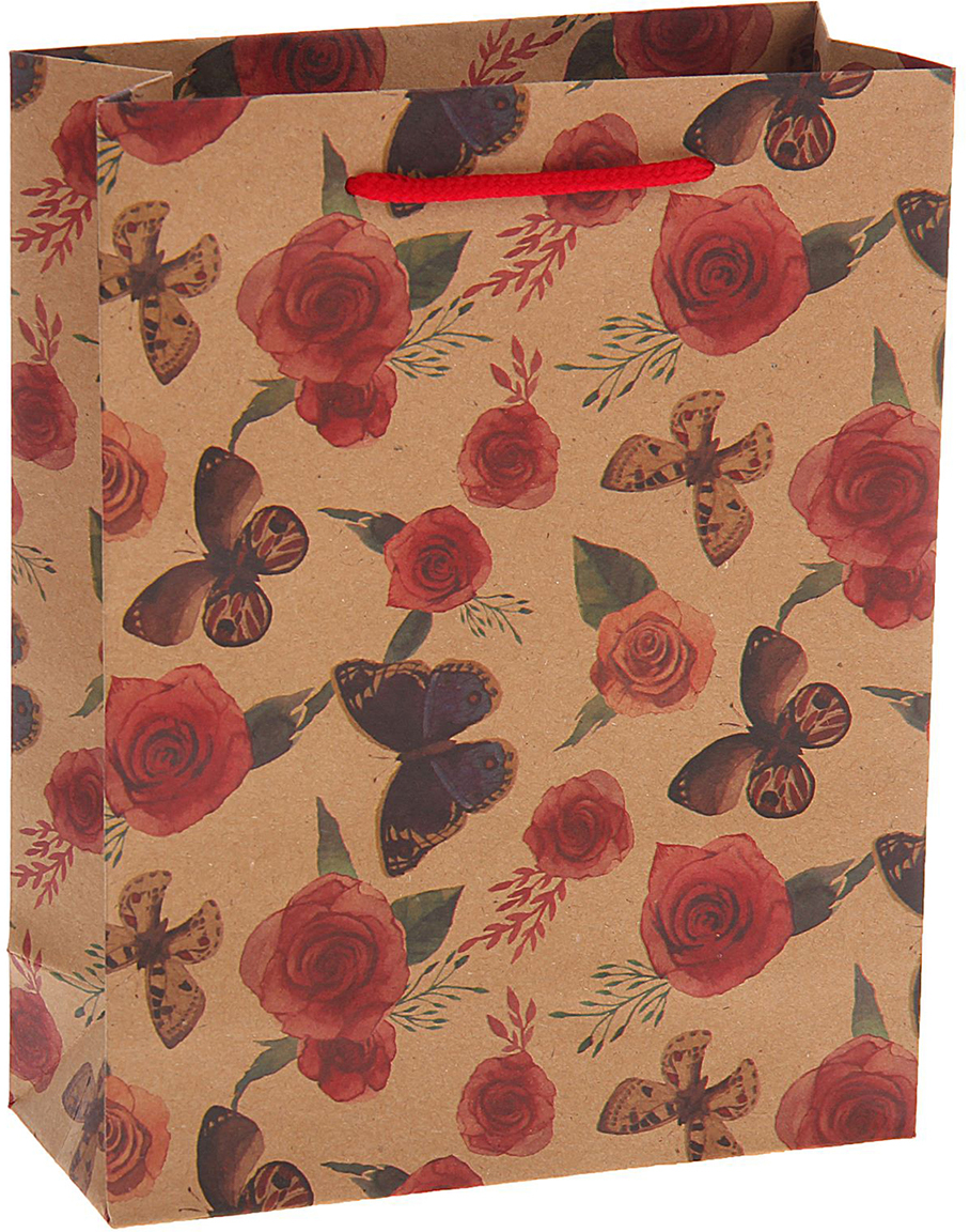 Пакет подарочный Бабочки на розах, цвет: мультиколор, 31 х 42 х 10 см. 15377411537741Любой подарок начинается с упаковки. Что может быть трогательнее и волшебнее, чем ритуал разворачивания полученного презента. И именно оригинальная, со вкусом выбранная упаковка выделит ваш подарок из массы других. Она продемонстрирует самые теплые чувства к виновнику торжества и создаст сказочную атмосферу праздника. Пакет-крафт Бабочки на розах - это то, что вы искали.