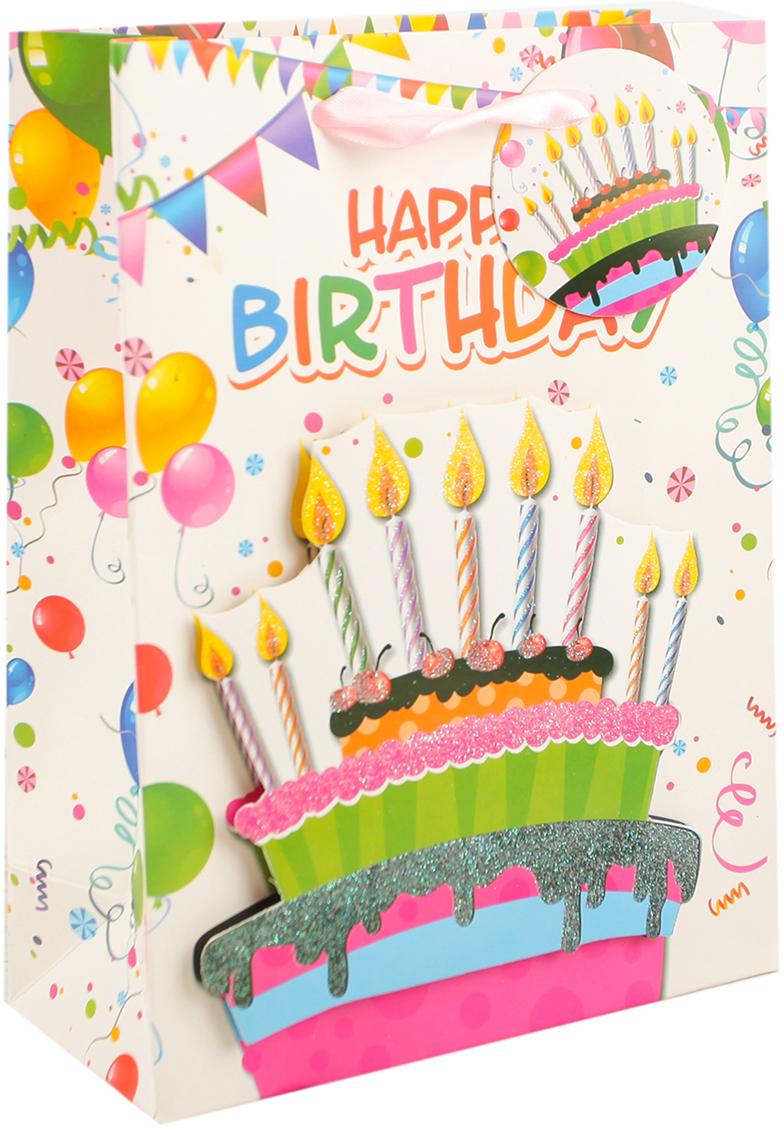Пакет подарочный В день рождения, цвет: мультиколор, 30 х 42 х 12 см. 27910262791026Любой подарок начинается с упаковки. Что может быть трогательнее и волшебнее, чем ритуал разворачивания полученного презента. И именно оригинальная, со вкусом выбранная упаковка выделит ваш подарок из массы других. Она продемонстрирует самые теплые чувства к виновнику торжества и создаст сказочную атмосферу праздника. Пакет подарочный В день рождения - это то, что вы искали.