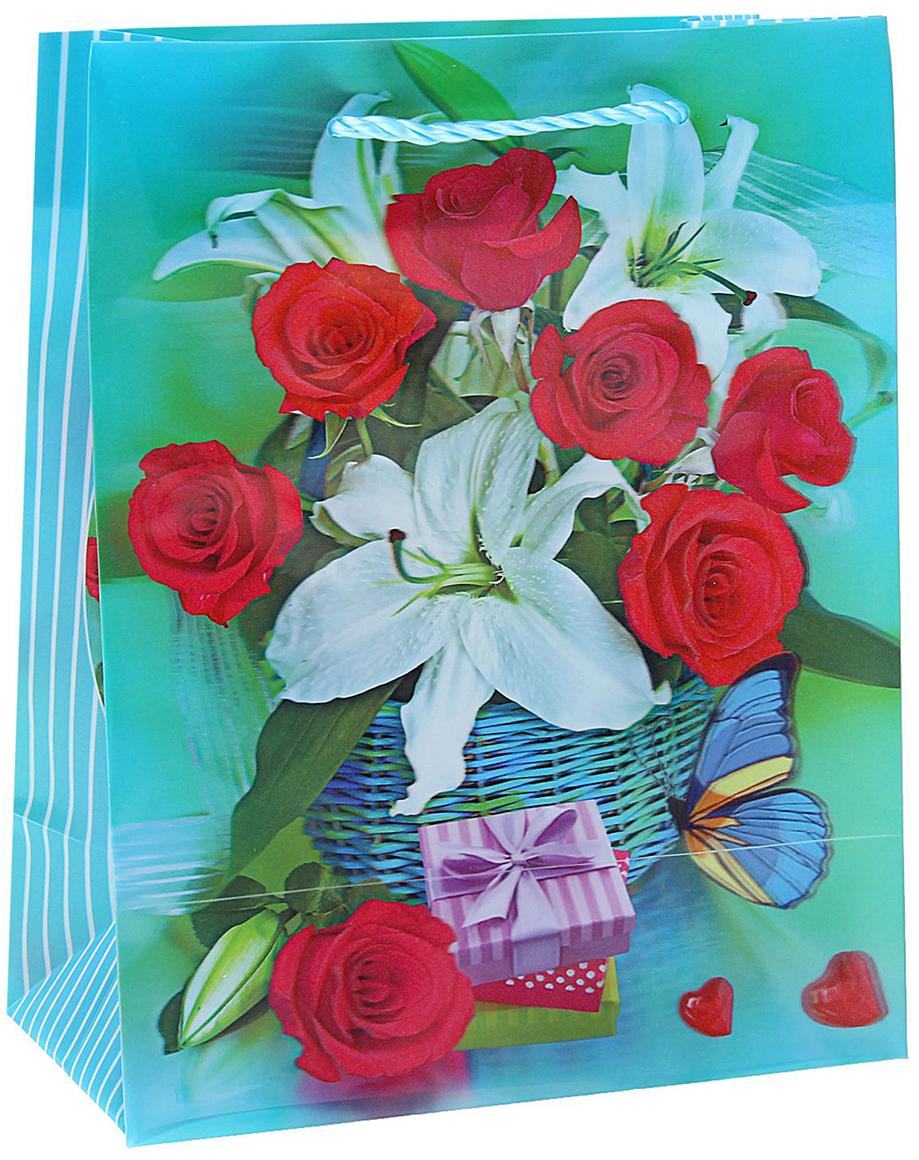 Пакет подарочный Букет цветов, 3D рисунок, цвет: бирюзовый, 8 х 18 х 23 см. 822833822833Любой подарок начинается с упаковки. Что может быть трогательнее и волшебнее, чем ритуал разворачивания полученного презента. И именно оригинальная, со вкусом выбранная упаковка выделит ваш подарок из массы других. Она продемонстрирует самые теплые чувства к виновнику торжества и создаст сказочную атмосферу праздника. Пакет пластиковый, 3D рисунок Букет цветов - это то, что вы искали.