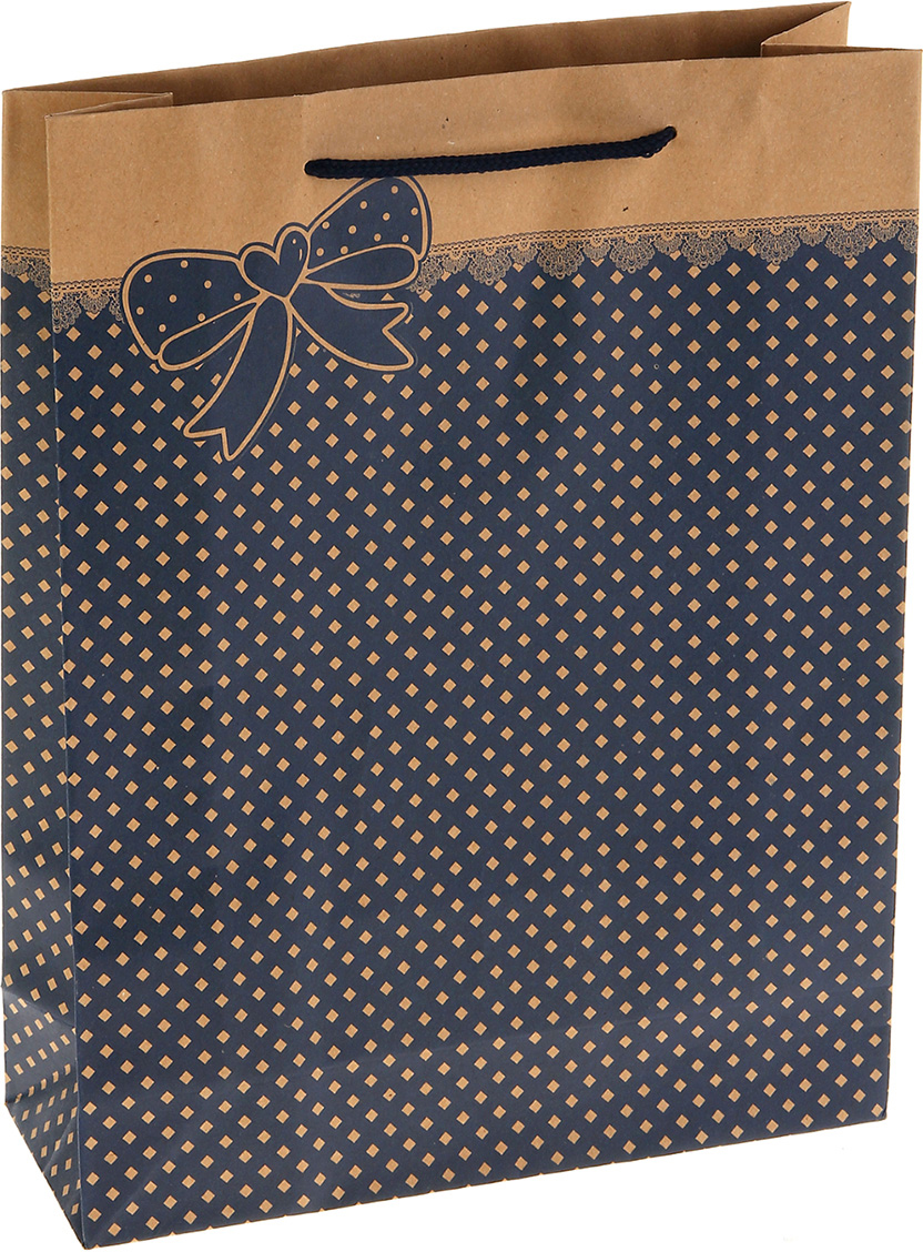 Пакет подарочный Бантик, цвет: синий, 25 х 9 х 33 см. 852527852527Любой подарок начинается с упаковки. Что может быть трогательнее и волшебнее, чем ритуал разворачивания полученного презента. И именно оригинальная, со вкусом выбранная упаковка выделит ваш подарок из массы других. Она продемонстрирует самые теплые чувства к виновнику торжества и создаст сказочную атмосферу праздника. Пакет-крафт Бантик - это то, что вы искали.