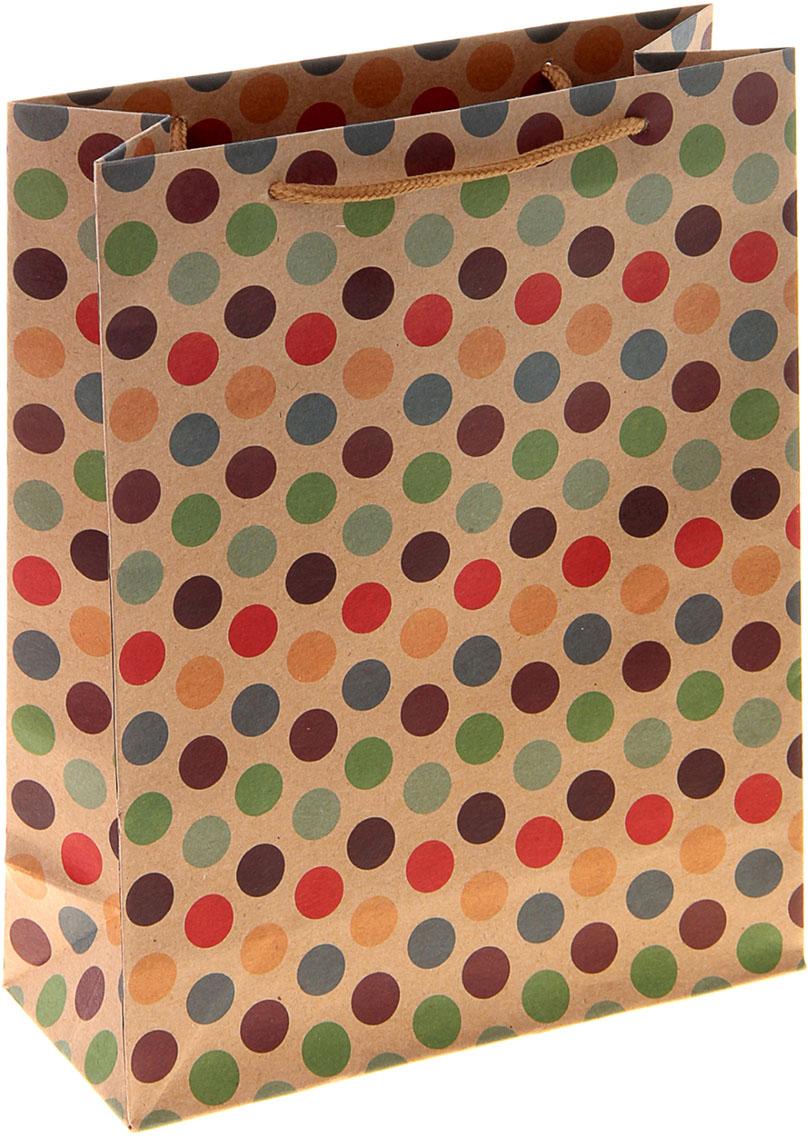 Пакет подарочный Горошек, цвет: мультиколор, 11 х 6 х 14 см. 1024312 пакет подарочный рисунок цвет мультиколор 11 х 6 х 14 см 1258394