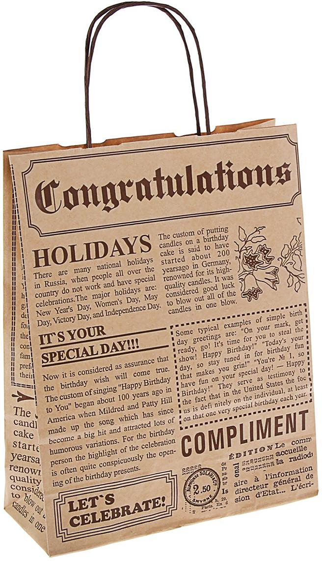 Пакет подарочный Газета, цвет: коричневый, 32 х 25 х 10 см. 13670501367050Крафт-пакет из натуральной бумаги отличается высокой воздухопроницаемостью, имеет крепкое дно и крученые ручки. Также он свободно выдерживает относительно большой вес до 10 кг, демонстрируя отличные показатели прочности, и не рвется острыми углами подарочной коробки. Практичность в использовании и разумная стоимость - все это характеризует удобную и абсолютно безопасную в применении упаковку. Модный сдержанный принт подойдет и для дорогой покупки из бутика, и для повседневных бытовых целей. Фирмы, упаковывающие свою продукцию таким образом, демонстрируют осведомленность в вопросах экологии, качестве выпускаемых изделий и заботы о ее потребителях.