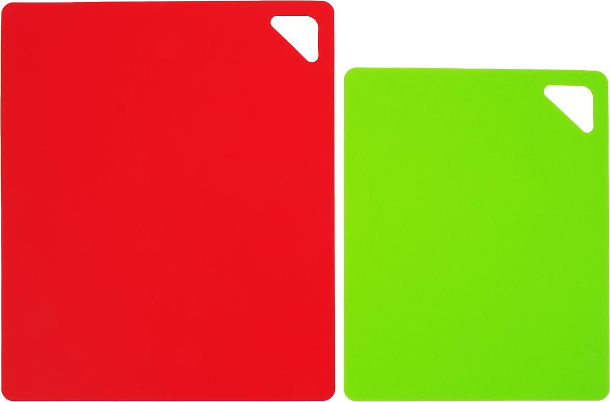 """Набор разделочных досок """"Домашний Сундук"""", гибкие, цвет: красный, зеленый, 2 шт"""