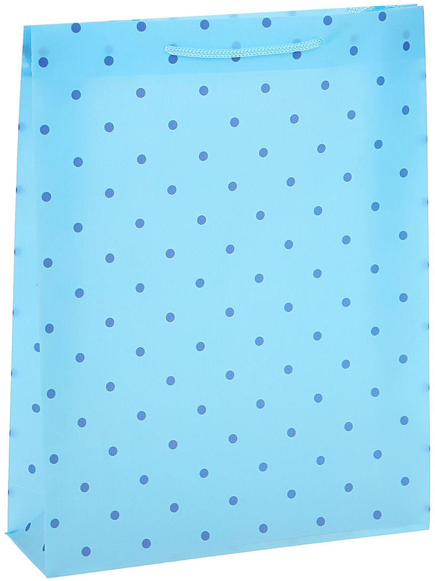 Пакет подарочный Горошек, цвет: голубой, 18 х 22 х 7,5 см. 15586461558646Любой подарок начинается с упаковки. Что может быть трогательнее и волшебнее, чем ритуал разворачивания полученного презента. И именно оригинальная, со вкусом выбранная упаковка выделит ваш подарок из массы других. Она продемонстрирует самые теплые чувства к виновнику торжества и создаст сказочную атмосферу праздника - это то, что вы искали.