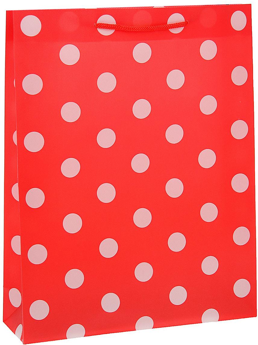 Пакет подарочный Горох, цвет: красный, 31 х 39 х 9 см. 15587121558712Любой подарок начинается с упаковки. Что может быть трогательнее и волшебнее, чем ритуал разворачивания полученного презента. И именно оригинальная, со вкусом выбранная упаковка выделит ваш подарок из массы других. Она продемонстрирует самые теплые чувства к виновнику торжества и создаст сказочную атмосферу праздника - это то, что вы искали.