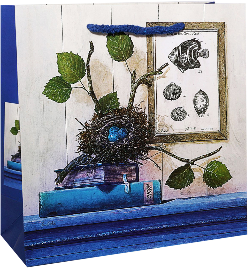 Пакет подарочный Гнездо, цвет: синий, 22 х 22 х 9 см. 2478275 пакет подарочный сирень цвет синий 22 х 22 х 9 см 2478276