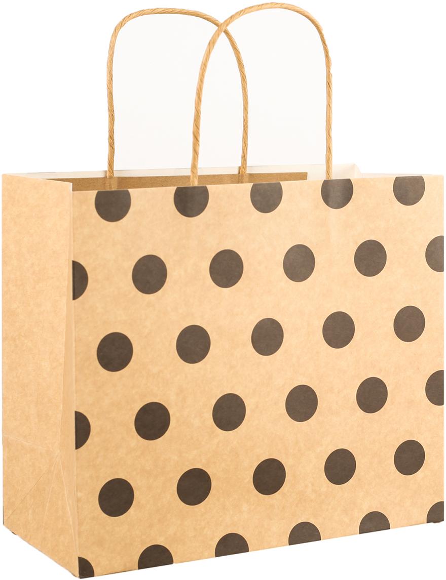 Пакет подарочный Горошек, цвет: коричневый, 25 х 22 х 12 см. 27496982749698Любой подарок начинается с упаковки. Что может быть трогательнее и волшебнее, чем ритуал разворачивания полученного презента. И именно оригинальная, со вкусом выбранная упаковка выделит ваш подарок из массы других. Она продемонстрирует самые теплые чувства к виновнику торжества и создаст сказочную атмосферу праздника. Пакет-крафт Горошек - это то, что вы искали.