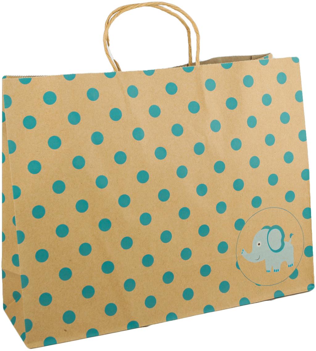 Пакет подарочный Горошек, цвет: коричневый, 30 х 38,5 х 12 см. 27697652769765Любой подарок начинается с упаковки. Что может быть трогательнее и волшебнее, чем ритуал разворачивания полученного презента. И именно оригинальная, со вкусом выбранная упаковка выделит ваш подарок из массы других. Она продемонстрирует самые теплые чувства к виновнику торжества и создаст сказочную атмосферу праздника. Пакет-крафт Голубой горошек - это то, что вы искали.
