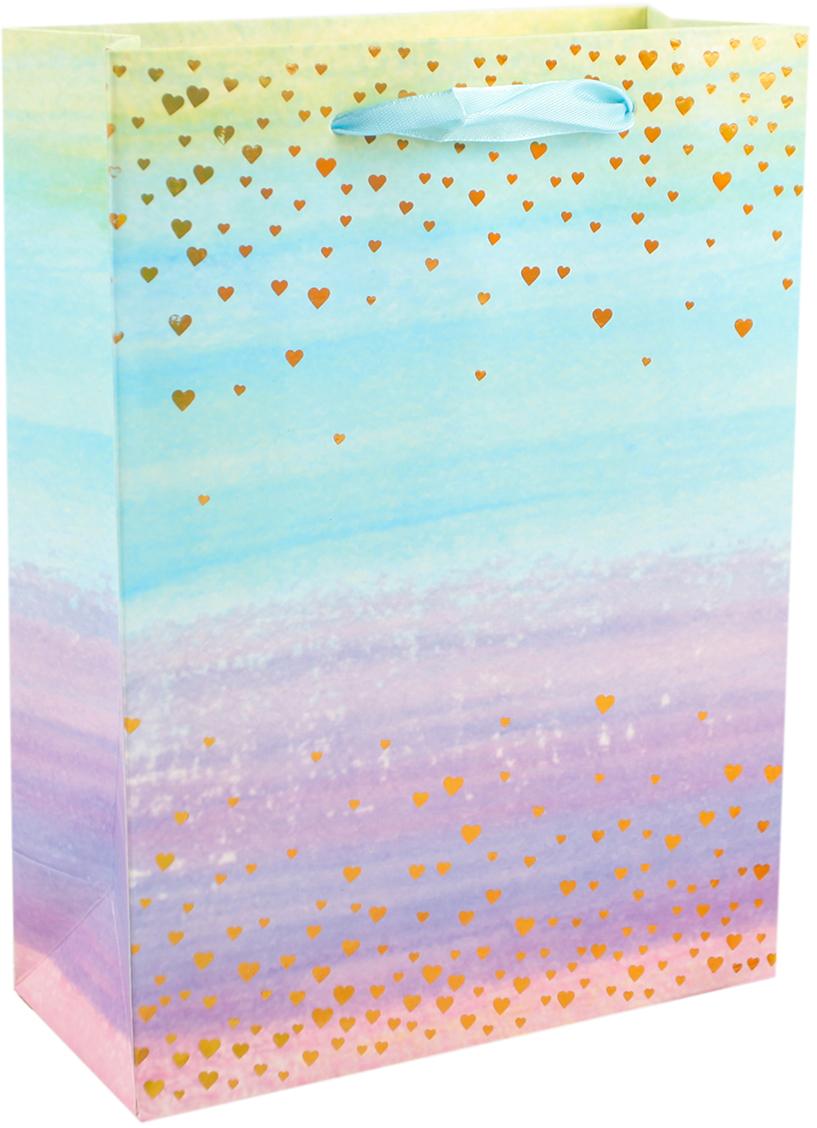 Пакет подарочный Градиент с сердечками, цвет: мультиколор, 26 х 32 х 10 см. 27910062791006Любой подарок начинается с упаковки. Что может быть трогательнее и волшебнее, чем ритуал разворачивания полученного презента. И именно оригинальная, со вкусом выбранная упаковка выделит ваш подарок из массы других. Она продемонстрирует самые теплые чувства к виновнику торжества и создаст сказочную атмосферу праздника. Пакет подарочный Градиент с сердечками - это то, что вы искали.