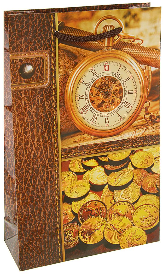 Пакет подарочный Время деньги, цвет: голубой, 16,5 х 7 х 26,5 см. 27929972792997Любой подарок начинается с упаковки. Что может быть трогательнее и волшебнее, чем ритуал разворачивания полученного презента. И именно оригинальная, со вкусом выбранная упаковка выделит ваш подарок из массы других. Она продемонстрирует самые теплые чувства к виновнику торжества и создаст сказочную атмосферу праздника. Пакет подарочный Время деньги - это то, что вы искали.