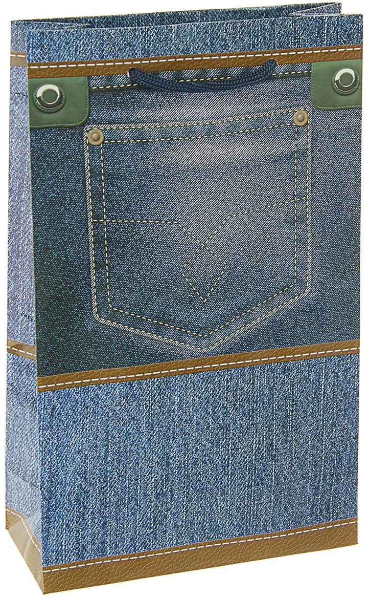 Пакет подарочный Джинсики, цвет: голубой, 16,5 х 7 х 26,5 см. 27930002793000Любой подарок начинается с упаковки. Что может быть трогательнее и волшебнее, чем ритуал разворачивания полученного презента. И именно оригинальная, со вкусом выбранная упаковка выделит ваш подарок из массы других. Она продемонстрирует самые теплые чувства к виновнику торжества и создаст сказочную атмосферу праздника. Пакет подарочный Джинсики - это то, что вы искали.