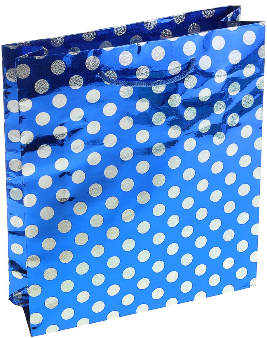 Пакет подарочный Горох, голографический, цвет: синий, 8,5 х 29 х 38,5 см. 853902853902Любой подарок начинается с упаковки. Что может быть трогательнее и волшебнее, чем ритуал разворачивания полученного презента. И именно оригинальная, со вкусом выбранная упаковка выделит ваш подарок из массы других. Она продемонстрирует самые теплые чувства к виновнику торжества и создаст сказочную атмосферу праздника. Пакет голографический Горох на синем - это то, что вы искали.