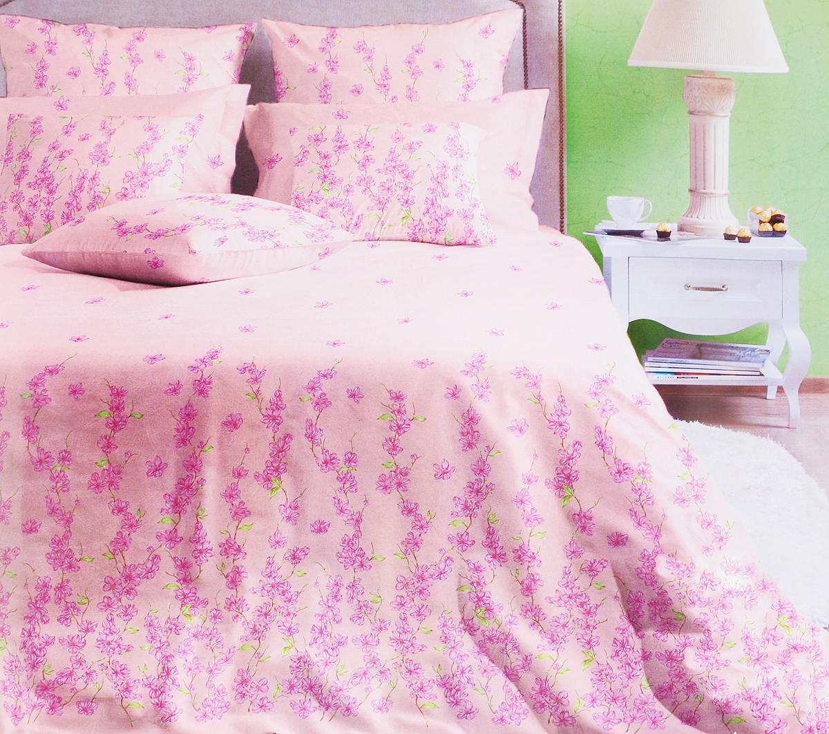 Комплект постельного белья Хлопковый Край Шарлиз роза, евро, наволочки 70х70. 40б-1ХКсс полуторный комплект белья хлопковый край винтаж 1 поплин 1 5