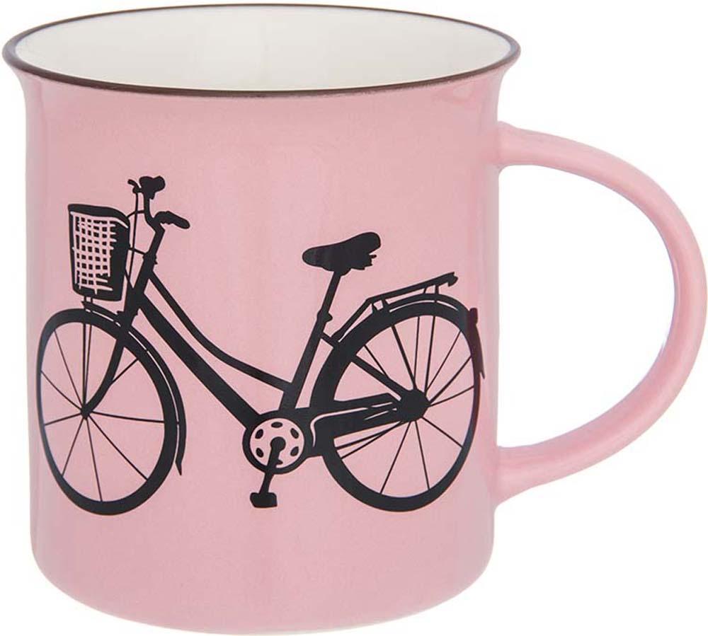 Кружка Elan Gallery Велосипед, цвет: розовый, 320 мл130014Фарфоровая кружка классической формы объемом 320 мл с удобной ручкой. Подходит для любых горячих и холодных напитков, чая, кофе, какао.