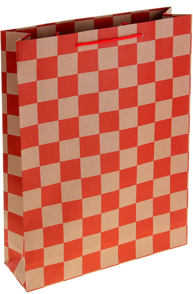 Пакет подарочный Шахматная доска, цвет: красный, 11,4 х 6 х 14 см. 10243071024307Любой подарок начинается с упаковки. Что может быть трогательнее и волшебнее, чем ритуал разворачивания полученного презента. И именно оригинальная, со вкусом выбранная упаковка выделит ваш подарок из массы других. Она продемонстрирует самые теплые чувства к виновнику торжества и создаст сказочную атмосферу праздника. Пакет-крафт Шахматная доска - это то, что вы искали.