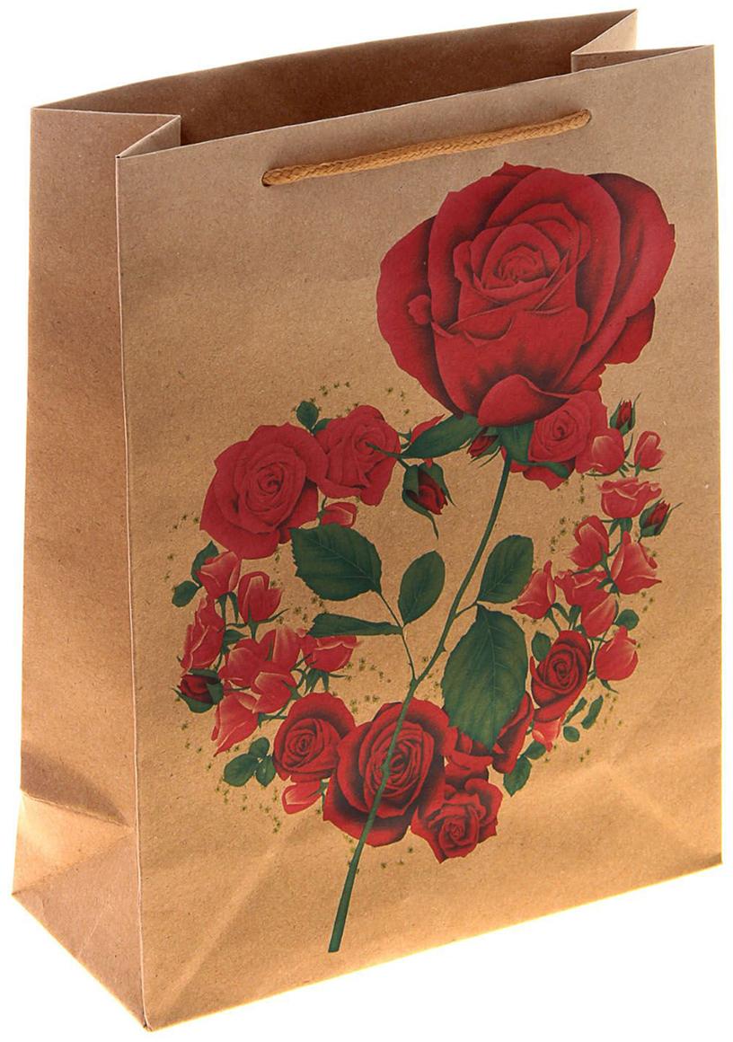 Пакет подарочный Роза в сердце, цвет: красный, 14,8 х 5,8 х 19 см. 10243211024321Любой подарок начинается с упаковки. Что может быть трогательнее и волшебнее, чем ритуал разворачивания полученного презента. И именно оригинальная, со вкусом выбранная упаковка выделит ваш подарок из массы других. Она продемонстрирует самые теплые чувства к виновнику торжества и создаст сказочную атмосферу праздника. Пакет-крафт Роза в сердце - это то, что вы искали.