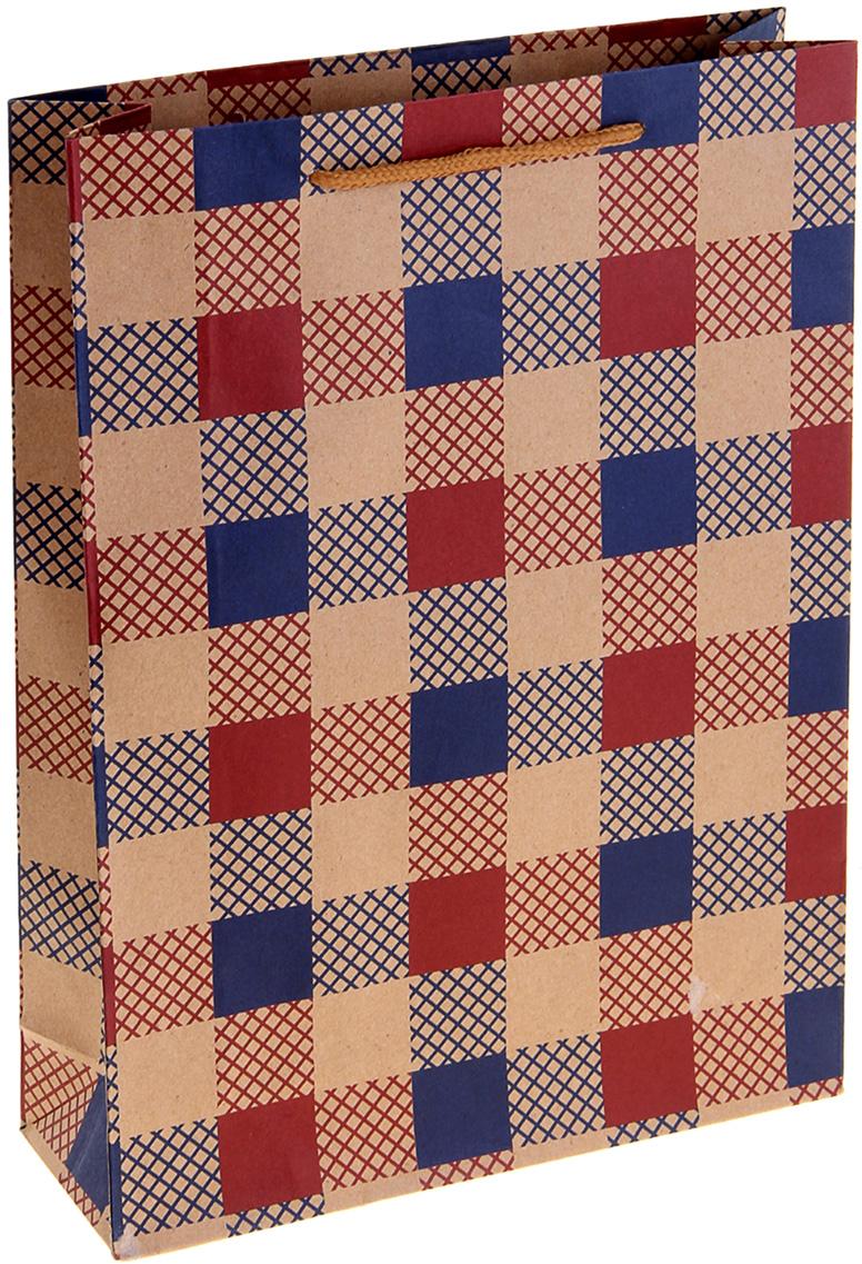 Пакет подарочный Клетка, цвет: мультиколор, 24 х 8 х 33 см. 10243351024335Крафт-пакет Клетка из натуральной бумаги отличается высокой воздухопроницаемостью, имеет крепкое дно и крученые ручки. Также он свободно выдерживает относительно большой вес (до 10 кг), демонстрируя отличные показатели прочности, и не рвется острыми углами подарочной коробки. Практичность в использовании и разумная стоимость - все это характеризует удобную и абсолютно безопасную в применении упаковку. Модный сдержанный принт подойдет и для дорогой покупки из бутика, и для повседневных бытовых целей. Фирмы, упаковывающие свою продукцию таким образом, демонстрируют осведомленность в вопросах экологии, качества выпускаемых изделий и заботы о своих потребителях.