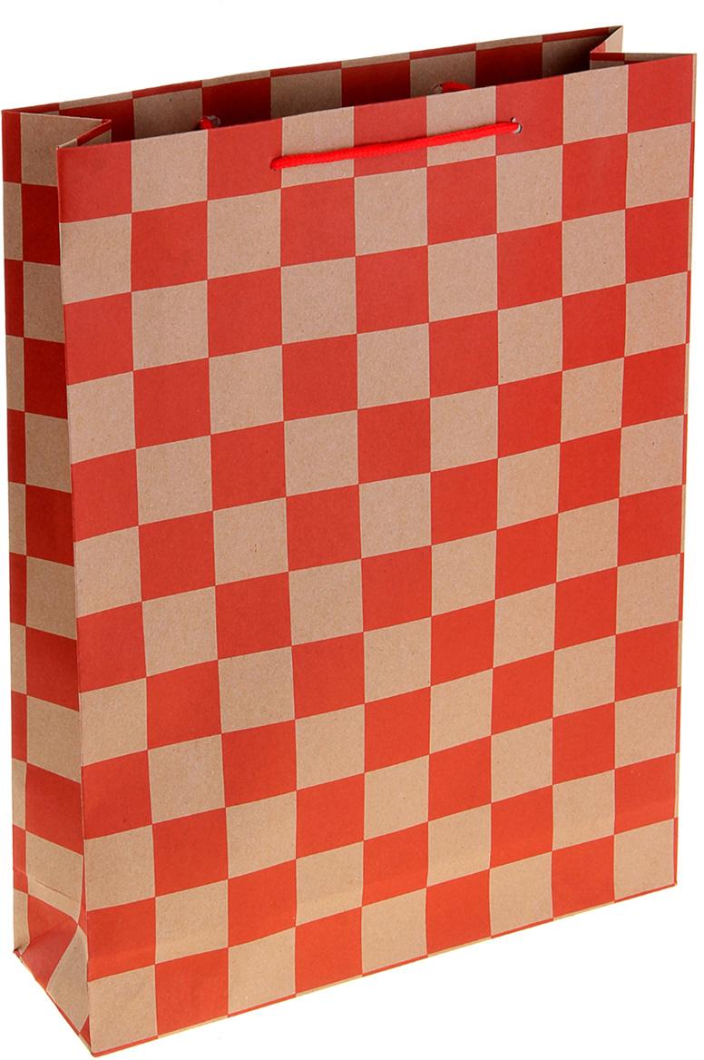 Пакет подарочный Шахматная доска, цвет: красный, 31 х 9,5 х 42 см. 10243571024357Любой подарок начинается с упаковки. Что может быть трогательнее и волшебнее, чем ритуал разворачивания полученного презента. И именно оригинальная, со вкусом выбранная упаковка выделит ваш подарок из массы других. Она продемонстрирует самые теплые чувства к виновнику торжества и создаст сказочную атмосферу праздника. Пакет-крафт Шахматная доска - это то, что вы искали.