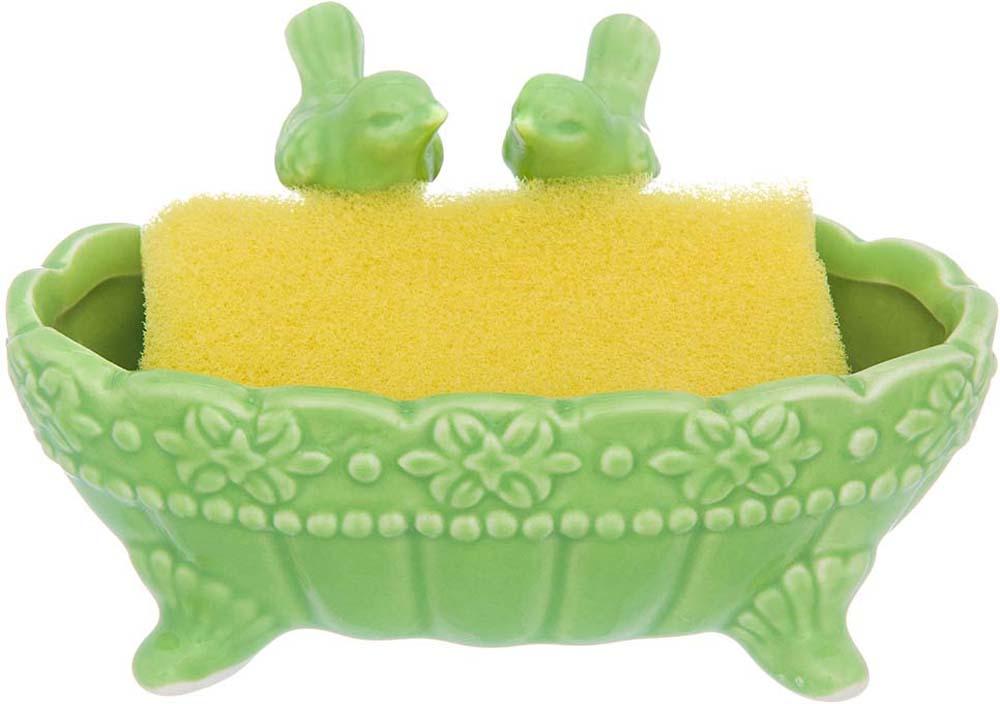 Подставка для губки Elan Gallery Птички в ракушке, с губкой, цвет: зеленый, 13,5 х 7 х 7 см380101Подставка для губки Elan Gallery - это интересное и оригинальное украшение вашей кухни. Она выполнена из керамики.С такой подставкой губка для мытья посуды всегда будет у вас под рукой.Губка в комплекте.
