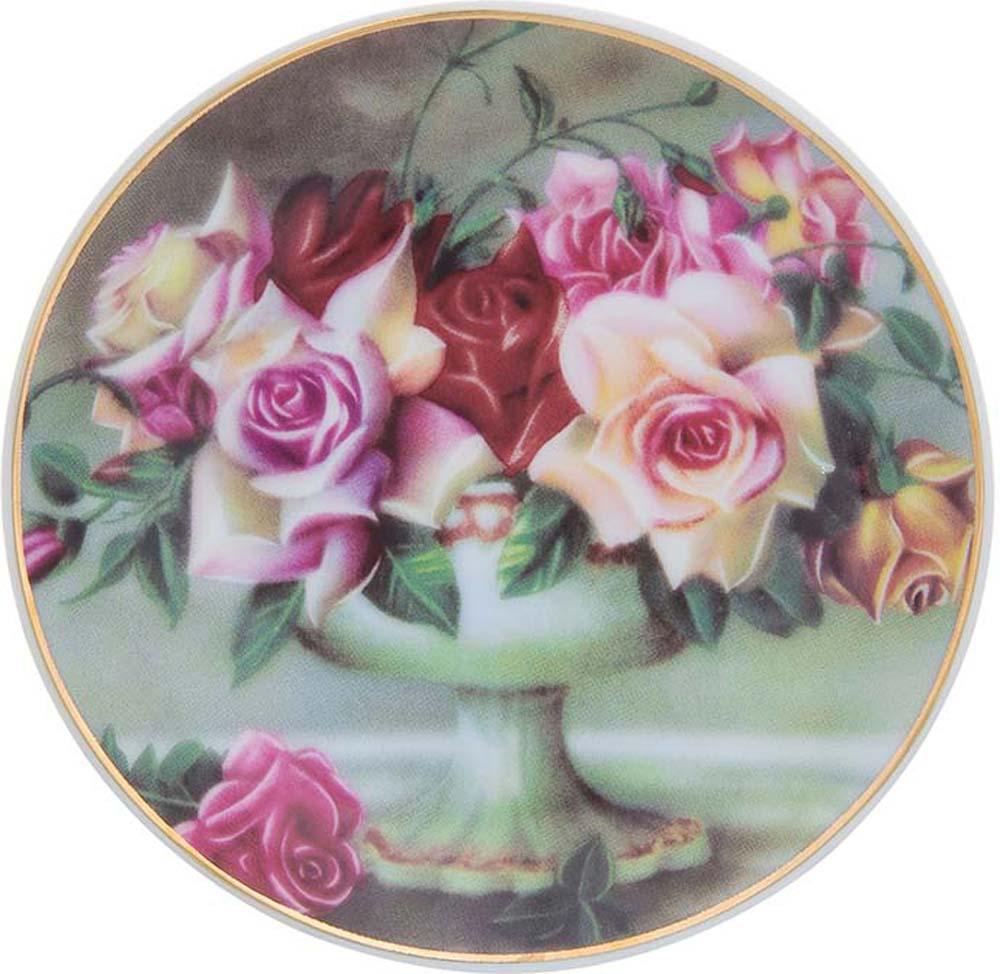 Тарелка декоративная Elan Gallery Букет из роз, с подставкой, цвет: темно-зеленый, диаметр 10 см тарелка декоративная elan gallery розовая роза с белой птичкой